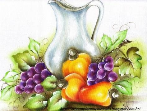 pintura em tecido jarro cajus e uvas